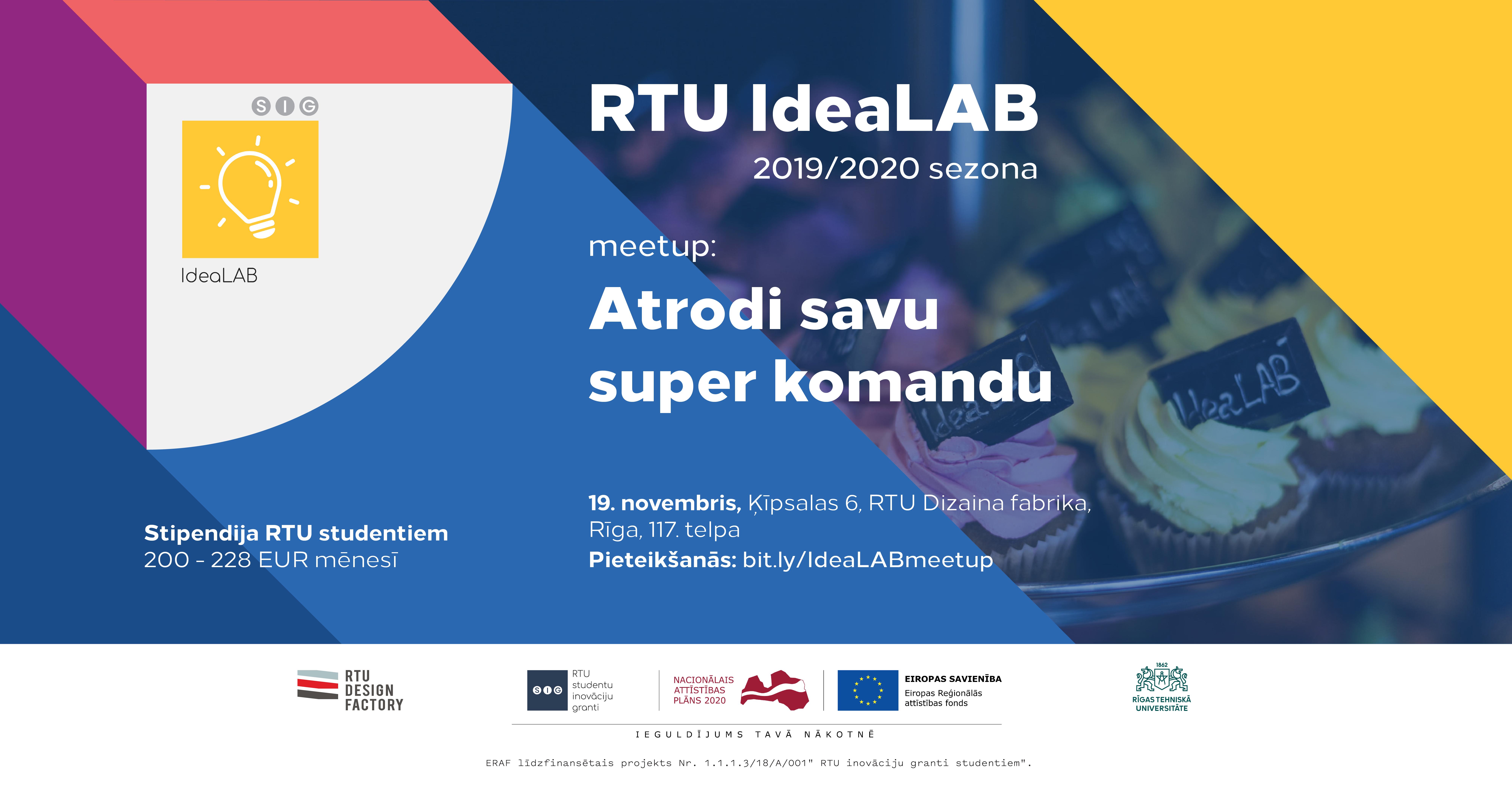 RTU IdeaLAB, inkubators, bizness, startup, RTU, nauda, uzņēmējdarbība
